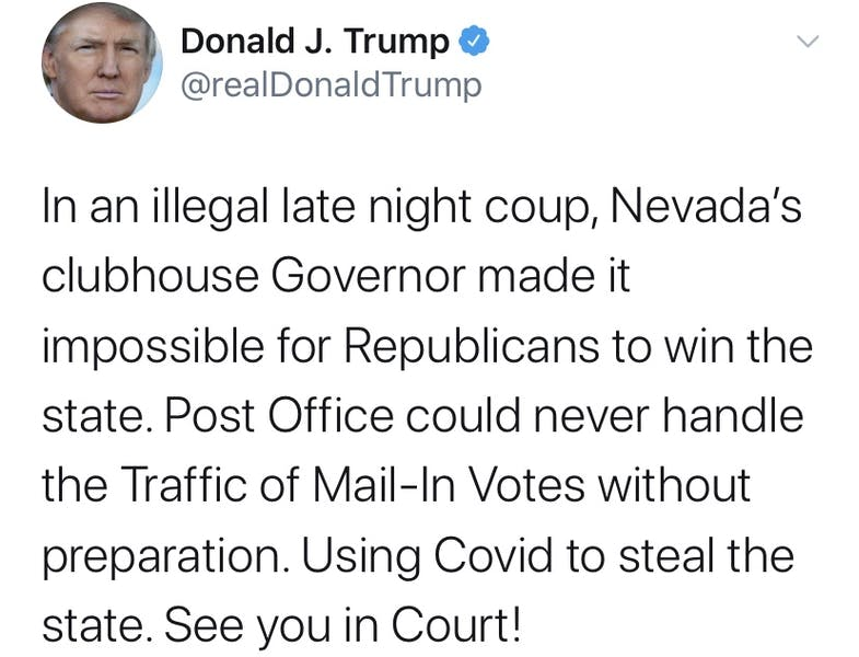 """Is Trump right in claiming Nevada lawmakers are trying to """"steal"""" the state by mandating mail-in ballots?"""