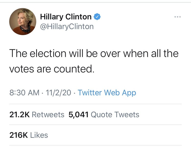 """Is Hillary's tweet """"the election will be over when all votes are counted"""" right?"""