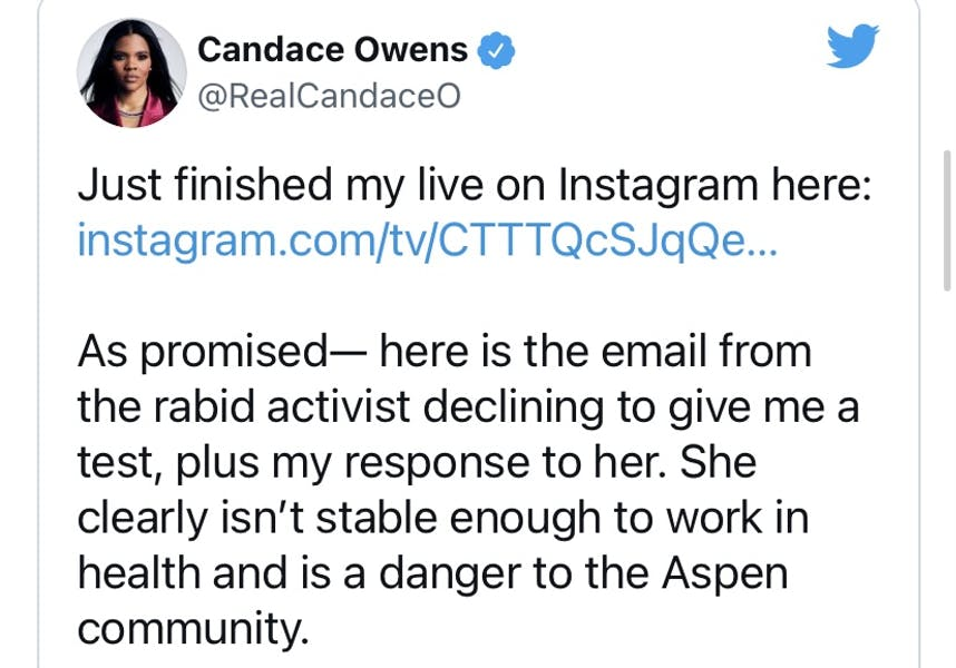 Was lab right to deny Candace Owens a COVID test?